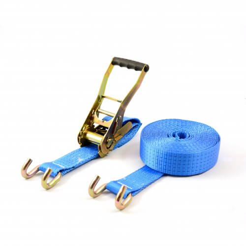spanband 5 ton 9 meter blauw met open haken